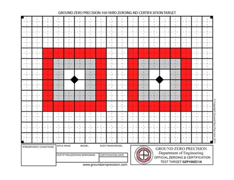 printable targets for zeroing precision 100 yard zeroing certification targets