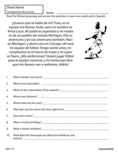 Reading Comprehension Test In Spanish | pinterest the world s catalog of ideas