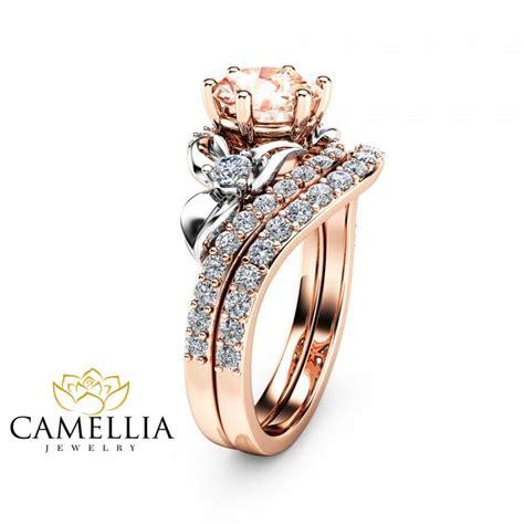 morganite unique engagement ring set 14k two tone gold