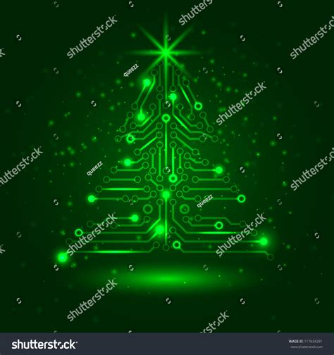 abstract technology christmas tree digital electronic