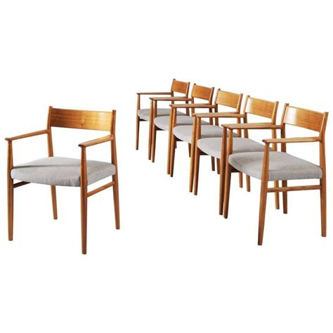 walnut dining room chairs arne vodder set of six dining chairs in walnut for sale at 1stdibs