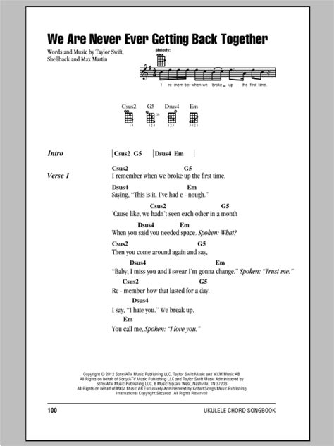 taylor swift chords getaway car we are never ever getting back together sheet music direct