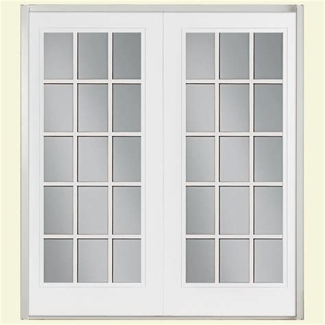 Patio Door Frame Masonite 72 In X 80 In Ultra White Fiberglass Prehung Right Inswing 15 Lite Gbg Patio