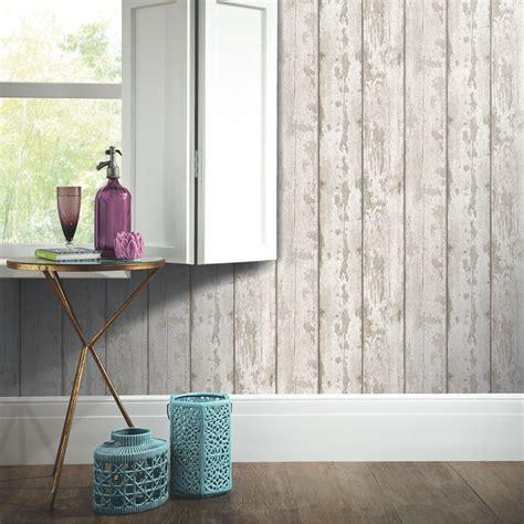arthouse white washed wood wallpaper decorating diy bm