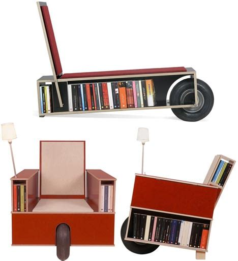 read roll clever combination chair bookcase design