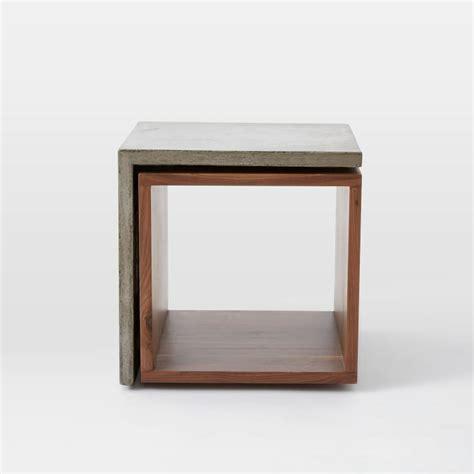 Concrete Side Table Concrete Contoured Cubbies Wood And Concrete Side Table