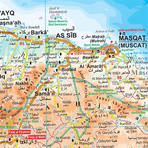 map of oman with cities masqat oman map mappery
