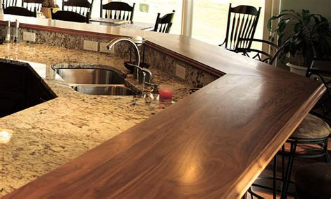 walnut wood raised breakfast bar countertops in virginia