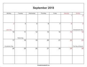 Free Printable 2018 Calendar With Holidays September 2018 Calendar Printable With Holidays Pdf And Jpg