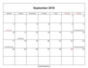 2018 Printable Calendar With Holidays September 2018 Calendar Printable With Holidays Pdf And Jpg