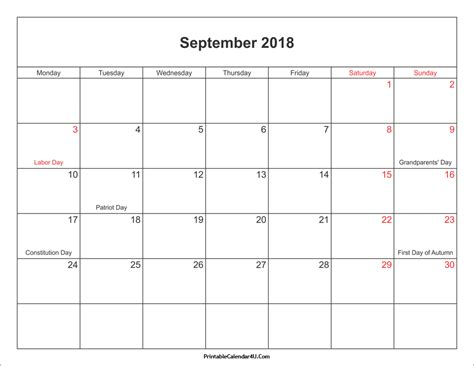 A Place 2018 Free September 2018 Calendar Printable With Holidays Pdf And Jpg