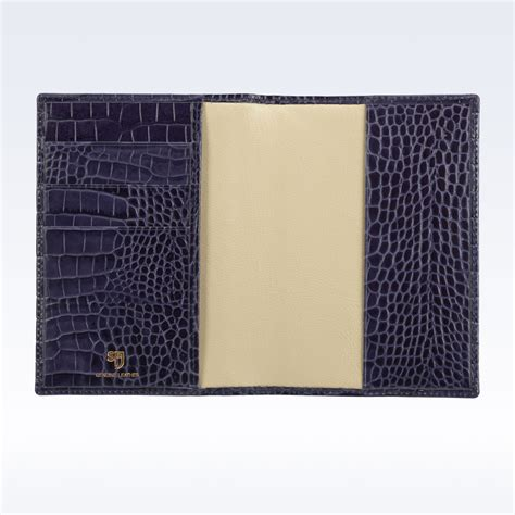 Passport Holder Mirror Quality Limited navy croc leather travel passport wallet stj leather