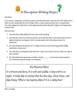 Descriptive Essay Assignment by Mystery Object A Descriptive Writing Assignment Writing Assignments And Writing