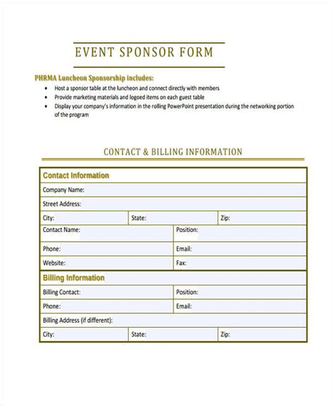 form layout event sponsorship form print a sponsorship form running down