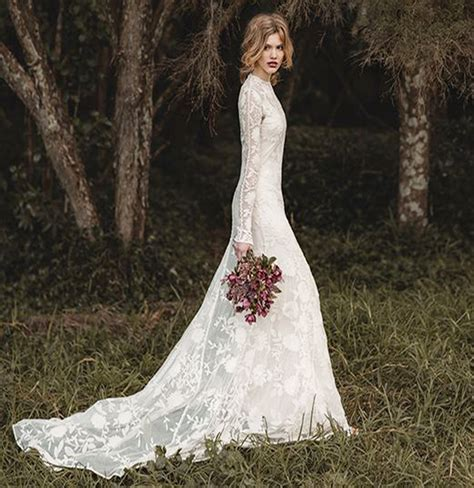 long sleeve lace wedding dresses  bridals