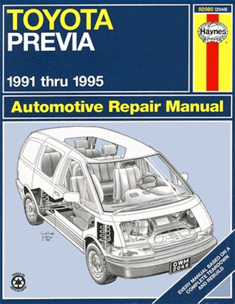 toyota previa repair and service manual 1991 1995 haynes