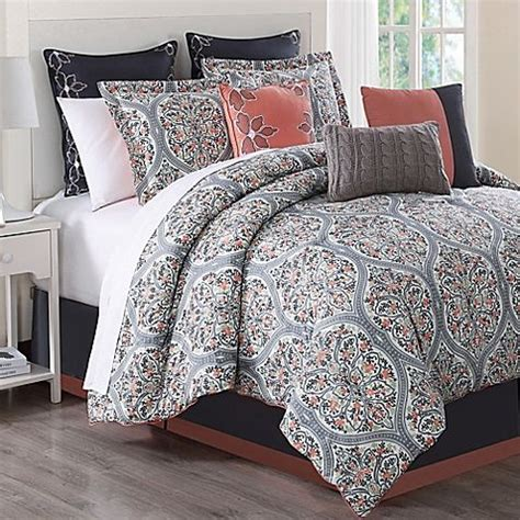Coral And Grey Bedding Sets Bring Chic Sophistication To Your Bedroom With The Unique Grace 9 Comforter Set Accented