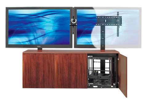 Contemporary Dual Mount TV Stand w/ Mahogany Veneer
