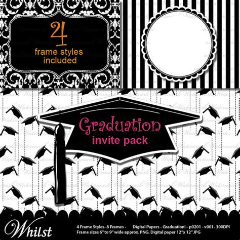 graduation cap invitation kit 5 5 quot x8 5 quot set 24 49664 graduation clip art digital paper grad invitation