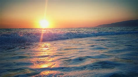 images sky clouds sun stones sunset sea waves