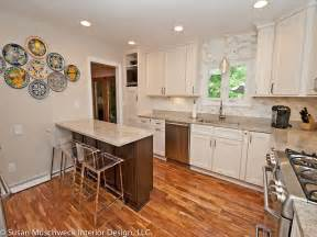 updated kitchen with small breakfast bar traditional and stools blue cabinets drawer door