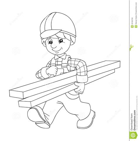 the coloring plate construction worker illustration