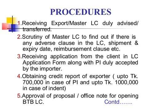 Letter Of Credit Types And Procedure how to open lc