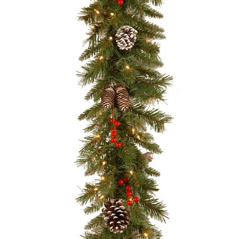 National Tree Company 9 Ft Frosted Berry Garland With 9 Light Garland With