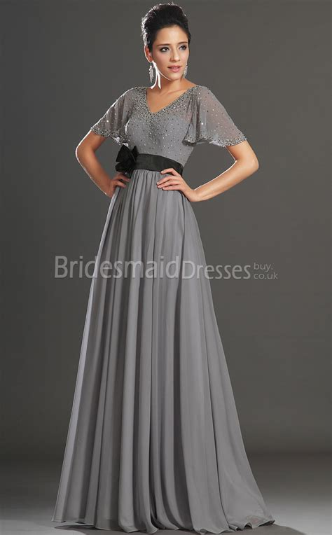 Bridesmaid Dresses Uk Sleeve - a line silver chiffon v neck floor length sleeve