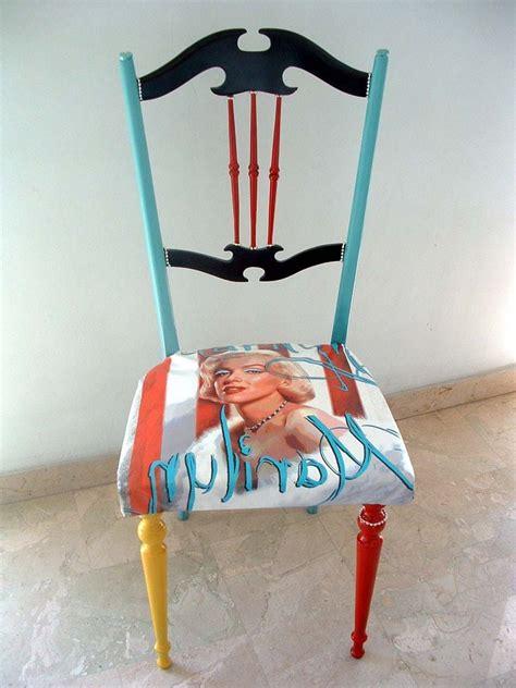 restauro sedie imbottite sedia artistica pop dipinta a mano stile pop per