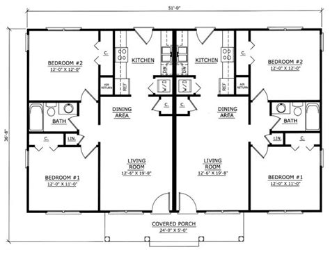 Duplex House Plans With Garage Image Result For One Story 2 Bedroom Duplex Floor Plans With Garage Duplex