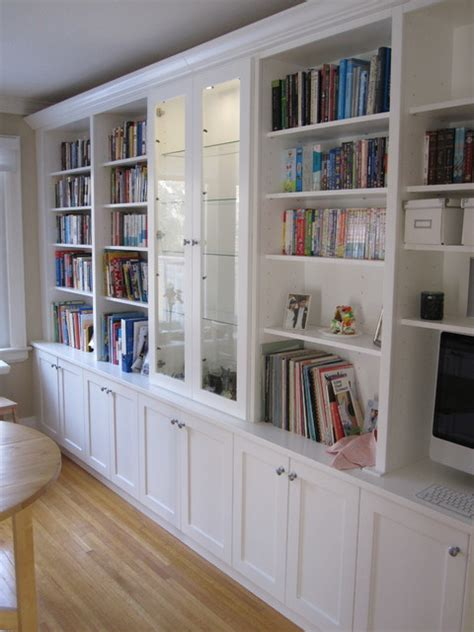 White Bookcases With Built In Desk Traditional Kitchen White Built In Bookcases
