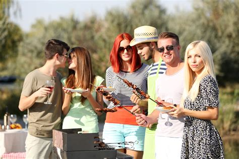 backyard orgy young friends having barbecue party outdoors sj hot chefs
