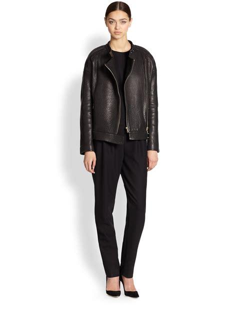 j brand leather j brand dorothy pebbled leather jacket in black lyst