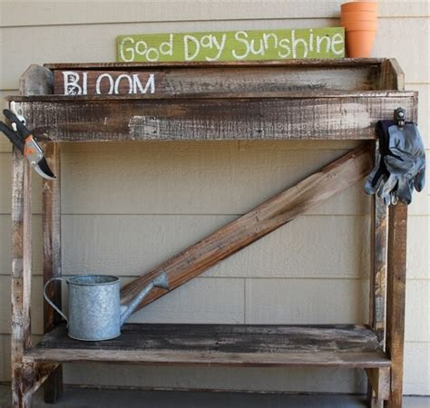 diy potting bench from pallets great use of diy pallet potting bench in home