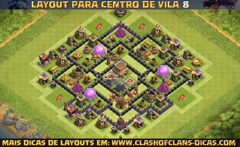 layout cv8 defesa layouts de centro de vila 8 para clash of clans clash of