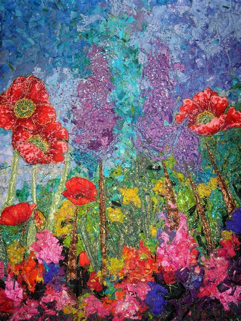 art design quilts impressionistic style art quilt holland floral and