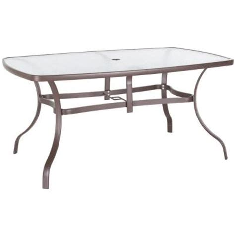 Patio Table Glass Replacement Home Depot 38 In X 60 In Steel Glass Top Patio Dining Table