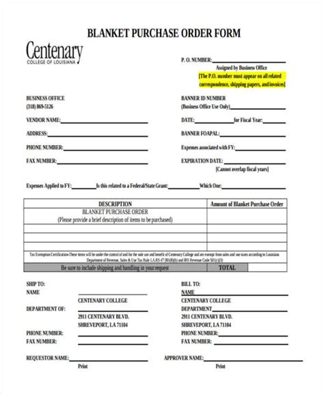 blanket purchase order agreement template 11 purchase order forms free sles exles formats