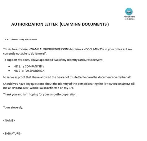 authorization letter with attached id why do you need an authorization letter to claim documents