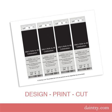 printable party ticket template event ticket photo invitation template printable diy