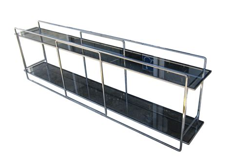 chrome glass console milo baughman 2 tiered chrome glass console for