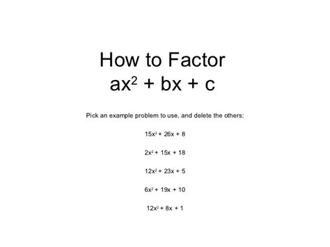 how to how to factor