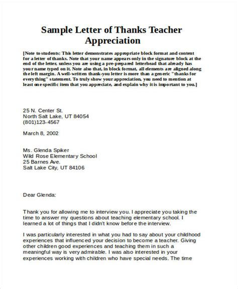appreciation letter on teachers day 69 thank you letter exles