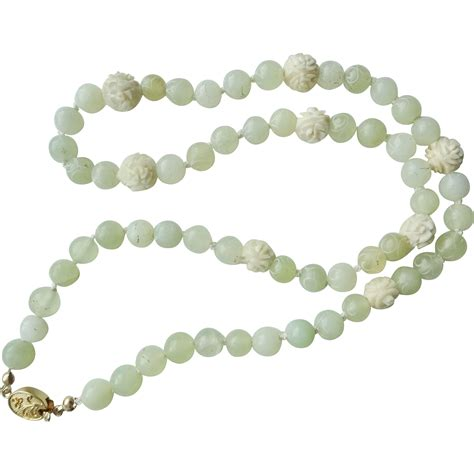 antique jade bead necklace vintage translucent jade carved bead necklace from