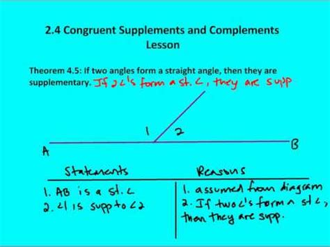 supplement vs complement angles 2 4 congruent supplements and complements lesson