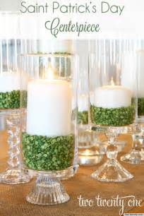 St patrick s day ideas make a candle centerpiece with green split