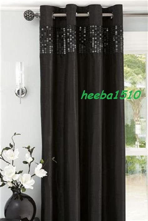 next silver sequin curtains new next black sequin banded eyelet curtains 66x72 quot ebay