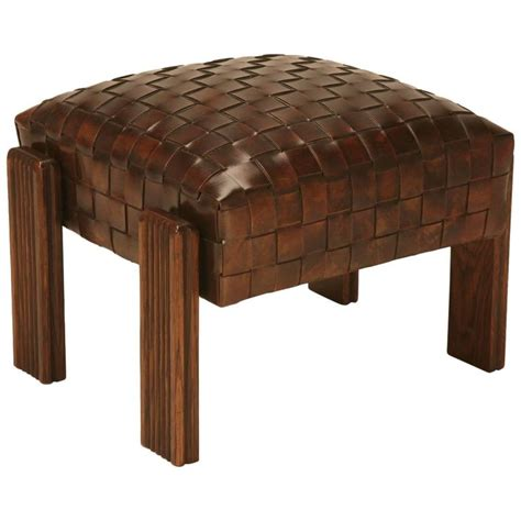 unique ottoman chic and unique vintage french handwoven leather ottoman