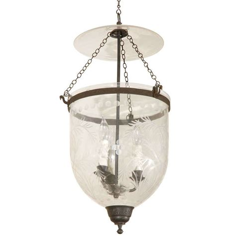 Hundi Light Fixture Bell Jar Hundi With Etched Detailing At 1stdibs